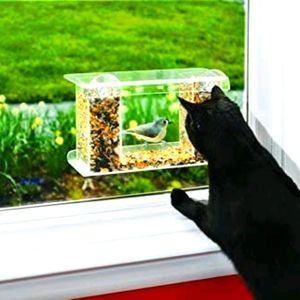 Easy to fill acrylic window bird feeder